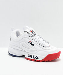 Women Fila Disruptor Ii Premium Casual Shoes Sneakers White Navy Blue Red