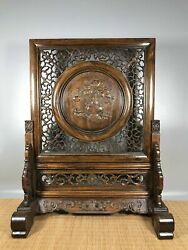 24.8 Antique Old China Huanghuali Wood Hand Carved Orchid Screen Statue