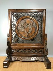 24.8 Antique Old China Huanghuali Wood Magpie Plum Blossom Screen Statue