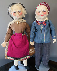 Antique French Boudoir Dolls Handpainted Mask Head Cloth 1920's - Beautiful