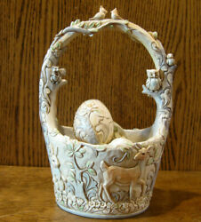 Jim Shore White Woodland 6003998 Easter Basket, 15th Annual Follow Your Path