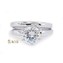 14k White Gold Round Natural Diamond Engagement Ring And Band Solitaire 1.00ct