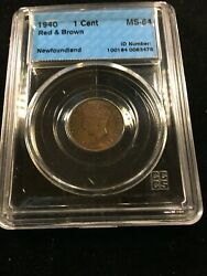 1940 Cccs Graded Newfoundland Small Andcent1 Cent Ms-64