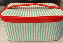 "Clinique large makeup beauty cosmetic train case bag white amp; green 10quot;x6quot;x5"" $6.99"