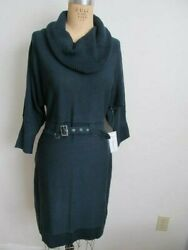 Womanand039s Green Sweater Dress Nwt Cowl Neck Belted Size Medium