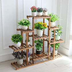 9 Tier Large Carbonized Wood Plant Stand Flower Pot Display Shelf Indoor Outdoor