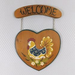 Vintage Wood Chicken Welcome Sign