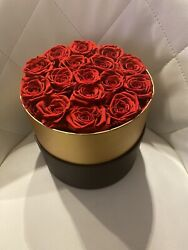 Handmade Red Infinity Preserved Forever Roses In A Black Box That Last A Year
