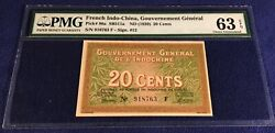 French Indochina 20 Cents 1939 P 86a Pmg 63 Epq Henry Signature Rare