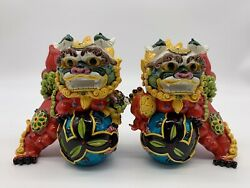 Taiwan Cochin Pottery Colorful Porcelain Evil Lion Foo Dog Play Ball Statue Pair
