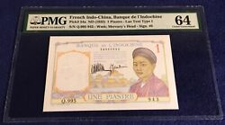 French Indochina 1 Piastre 1932 Pick 54a Pmg64 With 3 Digits Series No Pinhole