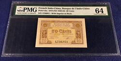 French Indochina 20 Cents 1920-23 Pick 45a Pmg64 With Text On Back Lower Right