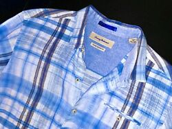 Tommy Bahama button down large plaid shirt blue long sleeve $12.99