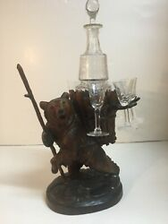 Black Forest Swiss Wood Carved Hiking Bear Tantalus W/ Bohemian Glass Decanter