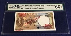 Vietnam South 1 Dong 1964 Pick 15s2 Pmg 66 Epq Red Dlr Stamped Rare