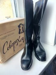Leather Riding High Boots Russian Soviet Army 1977officer Military Uniform 41ОШ