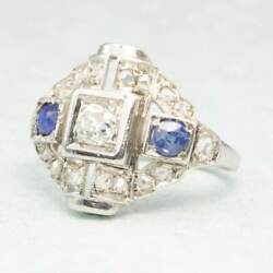 Vintage Art Deco 18ct Gold Sapphire And Diamond Ring