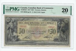 1917 Bank Of Commerce 75160424 50 Note Sm. Logan Pmg Vf-20 Sn30040 Annot.