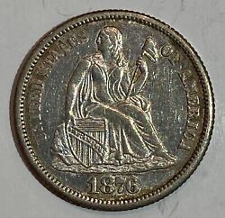 1876 Cc Carson City Seated Liberty Silver Dime Rare Absolutely Gorgeous