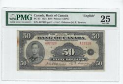 1935 Osb/tow Canada 50 Note Pmg Vf-25 Sn A07329 English Stain