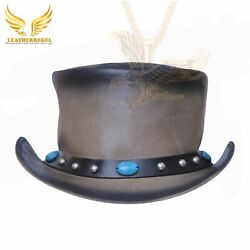 Steampunk Motorcycle Native Deadman Burning Red Indian Biker Leather Top Hat