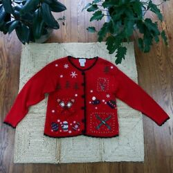 Vintage Ugly Christmas Sweater Basic Editions Holiday Sz S Red Black Trim Sequin