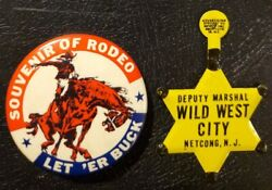 Vintage Tin Toy Deputy Marshal Star Badge And Cowboy Rodeo Pinback Button