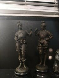 2 Bronze statues With Cast Iron Base. 125 for both