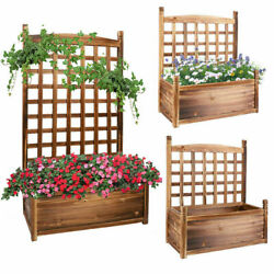 Planter Box With Trellis Solid Wood Outdoor Plant Overhead Free Standing Grow
