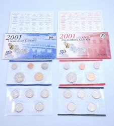 2001 P+d Us Mint Uncirculated Coin Set W/ State Quarters + Packaging And Coa