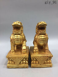 Antique China Collection Ming Dynasty Sign Pure Copper Gilt Lion A Pair