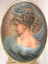 Antique Bradley And Hubbard 1821 Art Nouveau Wall Hanging Sculpture Of A Woman