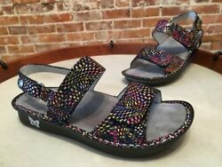 Alegria Verona Black Viewmaster Leather Ankle Strap Sandals 36 6 6.5 New