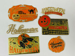 Vintage Halloween Lot 6 Candy Box Stickers Foil Seals Wow Witch Pumpkin