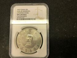 1927 China Silver Dollar L And M - 49 Memento 6 Pointed Stars Ngc Unc Chopmarked