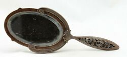 Art Nouveau Deco, Hand Mirror, Forged Wrought Iron / Fer Forge, Initials D. L.