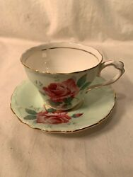 Paragon By Appointment China Green Cup And Saucer With Rose Gold Trim