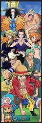 One Piece - Framed Manga Tv Show Door Poster Luffy And His Crew Size 22 X 63