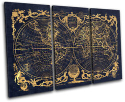 Vintage Navy Gold World Maps Flags Treble Canvas Wall Art Picture Print