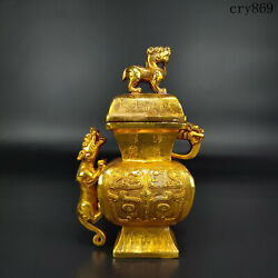 6.8old China Collection Bronzeware Gilding Flying Beast Bottle
