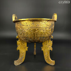 7.6collection Old China Bronzeware Gilding Carving Pattern Flatfoot Tripod