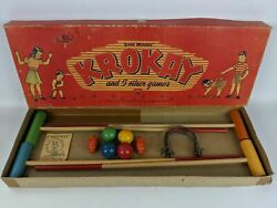Vintage 1946 Gold Medal Krokay And 5 Other Games By Transogram, Complete