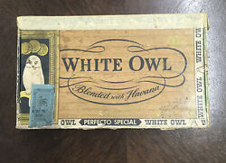 Vintage 10 Cent White Owl Perfecto Special Cigar Box Blended Havana