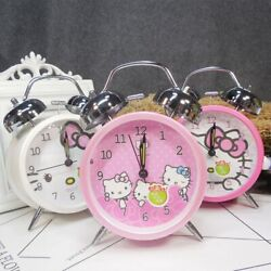 Hello Kitty alarm Clocks Round Number with Light Classic Dual Bell Loud Clock