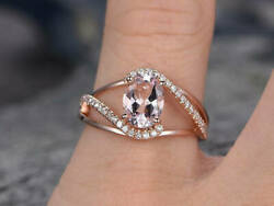 1.85ct Oval Cut Morganite And Diamond Engagement Wedding Ring 14k Rose Gold Finish