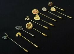Lot Of Ten Vintage Straight Stick Hat Sweater Pins Cameo Stone Enamel