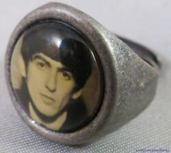 Vintage 60s Beatles George Harrison Silver Gumball Ring Card Bw Photo Usa Made