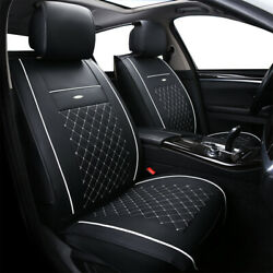 Luxury Leather Car Seat Covers Cushion Front Rear Full Set Universal Adjustable