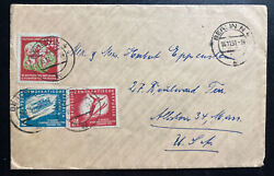1951 Berlin East Germany Ddr Cover To Alton Ma Usa Winter Olympics Issue Stamp