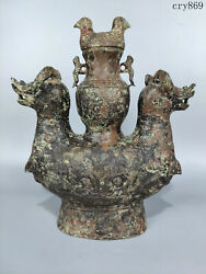 13.2collection China Old Shang And Zhou Dynasties Bronze Double Sheep Bottle